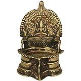 Krishna Brass Goddess Laxmi Carved Holy Oil Lamp (6 cm x 5 cm x 12 cm, Bronze)