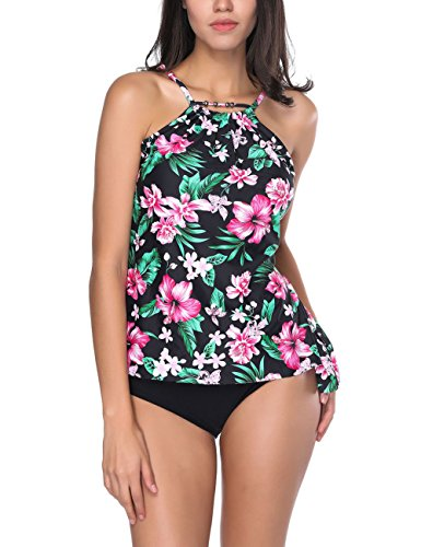 8958476678 FeelinGirl Maillots de Bain 2 Pièces Femme avec Bas de Maillot Tankini  Cache Ventre Fleuri Push Up Bikini avec Short Taille S 3XL (XL = (FR44 46),  ...