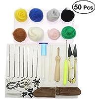 BESTOMZ Kit Agujas de Fieltro 50 Colores Hilo de Lana de Fieltro Herramientas Fieltrar Tijeras Manija de Fieltro de Madera Protector Dedos para Afieltrar Manualidades Bricolaje