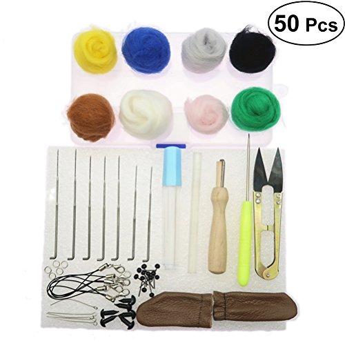 OUNONA Nadelfilz Set Wollfilz Starter Kit mit Filzwolle Werkzeuge DIY Handwerk 50 Stück
