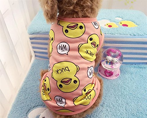 Huakaiduo Welpen Tragen Kostüme Haustier-Kleidungs-große Gelbe Enten-Weste-Katzen-Hundekleidung Rosa L (Ente Family Kostüm)