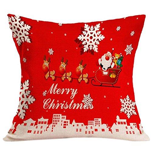 ZARU Decoración de Navidad Sofá cintura Throw Cojín Funda de almohada (I)