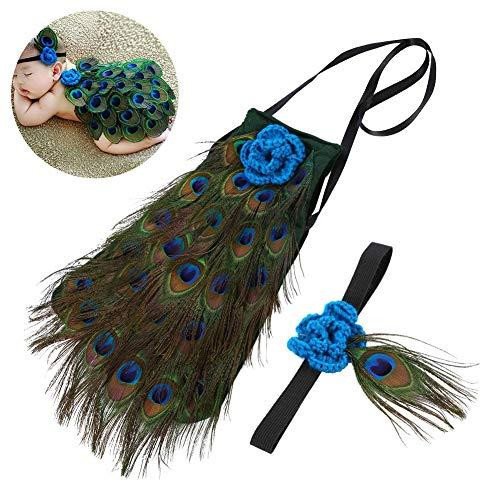 borener Baby-Pfau Nette Fotografie Prop Crochet Knite Outfit Baby-Pfau-Feder-Stirnband-Feder ()