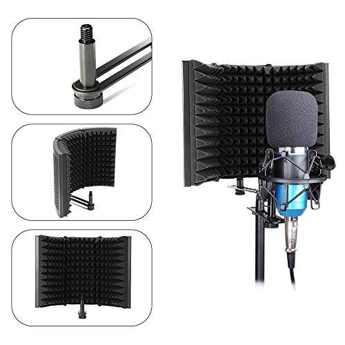 Konesky Schermo di Isolamento del Microfono, Schiuma Acustica EVA Studio-Grade in Microfibra Fonoassorbente Studio Mic