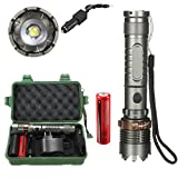 LED Taschenlampe,8000Lm T6 LED Taschenlampe Zoomable Tactical + 18650 Ladegerät Box