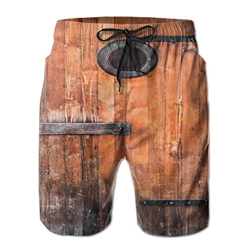 MIOMIOK Mens Beach Shorts Swim Trunks,Photograph of Antique Knotted Pine Wood with Control Window Lumber Nature Design Caramel Brown_2,Summer Cool Quick Dry Board Shorts Bathing SuitL - White Pine Lumber