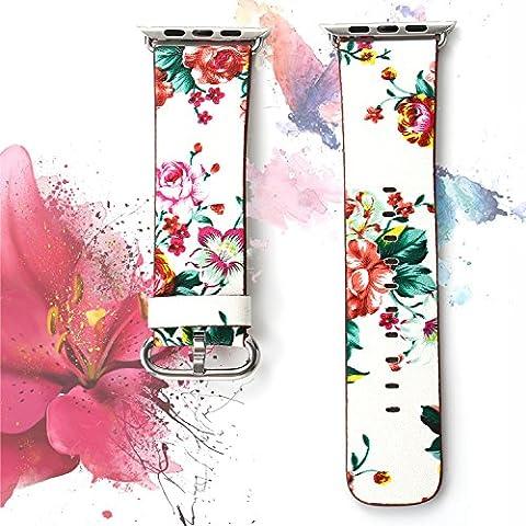 X-cool For Apple Watch ArmBand 38mm Weiches Leder Gurt mit Metall Schließe Blume Armband für Apple Watch Series 3 Series 2 series 1