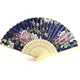 AUM- Colorful, Floral Pattern, Hand Held Folding Bamboo Japanese Silk Hand Fan (Blue-DS).100% Hand Crafted, Gift Fan For Girls, Women, Wedding Party. Buy 100% Original Imported Hand Fan From Aum Impex Only