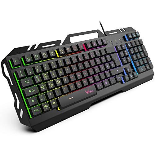 Gaming Tastatur, WisFox Bunte Rainbow LED Hintergrundbeleuchtete Gamer Keyboard, Ultra Sünn leise Ganzmetall USB Computertastatur mit Spritzwassergeschütztem Design für Windows PC Gamer-Schwarz - Vista Usb-tastatur