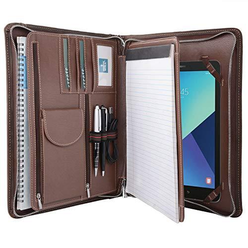 crazy-horse Leder PadFolio, Multifunktions-Business Binder/Fall, Dokument Veranstalter, Halterung für iPad Pro/Surface Pro 13.0x13.0x10.2 In. Samsung Galaxy Tab S4 10.5 (Binder Ordner-tab)