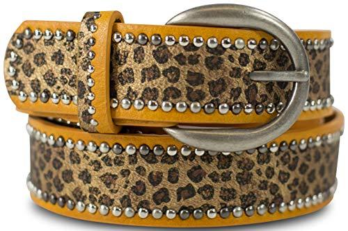 FashionCHIMP Leoparden-Muster Gürtel für Damen mit Nieten-Besatz, Breite ca. 3,3 cm (Curry-Leoparden)