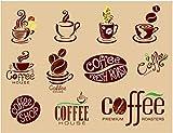 YUANLINGWEI Benutzerdefinierte Wandbild Tapete Kreative Kaffee Muster Restaurant Coffee Shop Hintergrund Wand Dekoration Seide Wandbild Tapete,230Cm (H) X 310Cm (W)