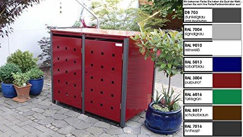 Metall Mülltonnenbox für 2 Tonnen, Müllcontainer, Müllbox. Made in Germany. # Größe: Für 2 Tonnen bis 240 l # Farbe: Farbenauswahl per EMail angeben # Dach: Mit Klappdach # Stanzung: ST 3/5