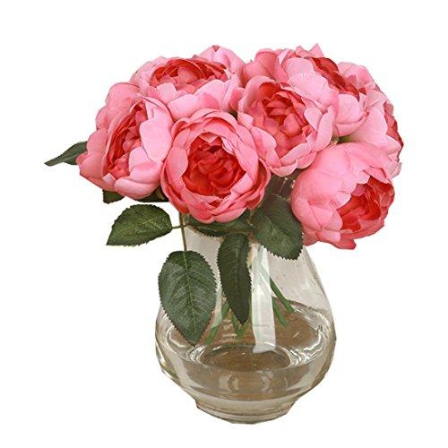 Flores Artificiales,Xinan 1 Bouquet Hoja de Flores Seda Peony Artificial (Rosa Caliente)