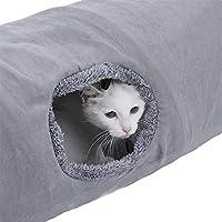 Speedy Pet Tunnel de chat léger rabattable Rondelle Tube en papier Kitten avec trou glissé Dangles amovibles Balle grise