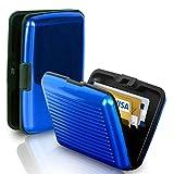 HR-Handel Kreditkartenetui Slimwallet Kartenetui Alu Geldbörse RFID Schutz Visitenkarten Aluminium (Radio Frequency ID Scanning) - RFID Schutz (Blau)