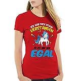 CottonCloud Ich hab dich schon verstanden - es ist mir nur egal Damen T-Shirt Einhorn Unicorn, Farbe:Rot;Größe:XS