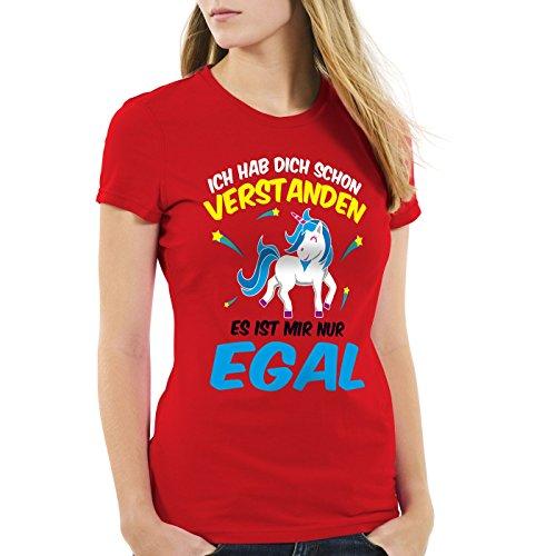 CottonCloud Ich hab dich schon verstanden - es ist mir nur egal Damen T-Shirt Einhorn Unicorn Rot