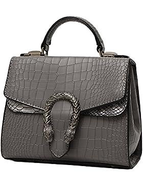 Yan Show Damen PU Schultertaschen Krokodil Handtasche Multifunktions Tasche
