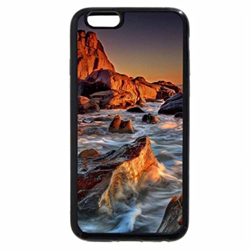 iPhone 6S Case, iPhone 6 Case (Black & White) - fantastic sunset on rocky shore hdr