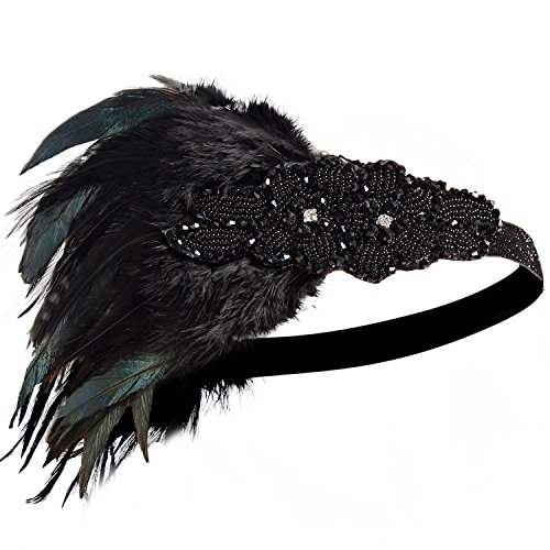 BABEYOND Damen Feder Stirnband 1920s Stil Flapper Art Deco Inspiriert von Great Gatsby Blatt Medaillon Blinkende Kristalle Haarband