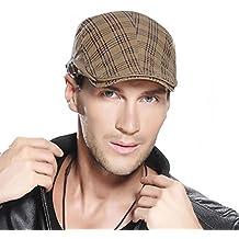 VANKER 1X Vendimia Hombres Mujeres sólido invierno lino vendedor de periódicos del taxista Campo de la boina del sombrero del casquillo (caqui)