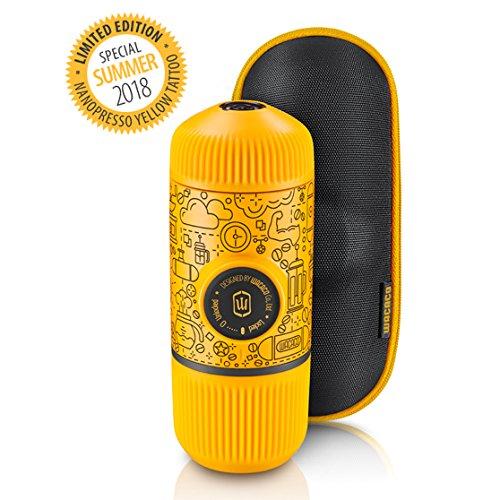 Wacaco Nanopresso Portable Espresso Maker incluido con funda protectora Nanopresso, Amarillo Tattoo Patrol Edition, Edición de la Patrulla Amarilla, cafetera de viaje pequeña, operada manualmente