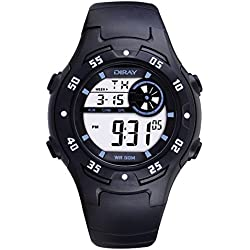 Digital-analog Boys Girls Luminous Sport Digital Watch with Alarm Stopwatch Chronograph - 50m Water Proof(Black)