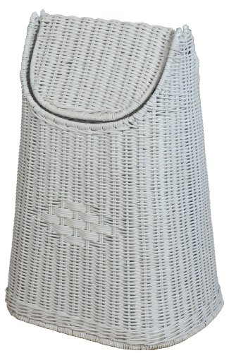 Papierkorb aus Rattan geflochten mit Schwingdeckel Farbe Weiss - Versandkostenfrei in DE