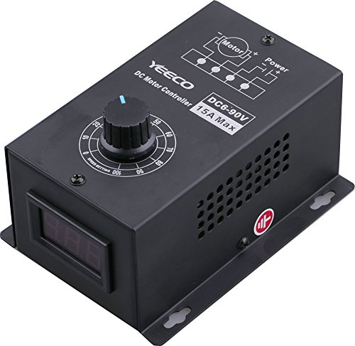 Yeeco DC Motor Drehzahlregler 6-90V 15A 16 KHZ PWM Drehzahlregler Generator 0.01-1000W Stufenloses Steuermodul mit Spannungsversorgung Reverse Connect Protection