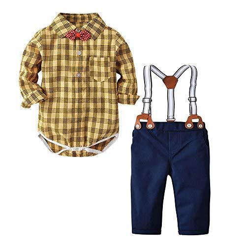 Yazidan Kleinkind Baby Junge Bekleidungsset Formal Fliege Gentleman einfarbige Anzug Plaid...