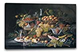 Severin Roesen - Natura morta: frutta (1855), 100 x 70 cm (diverse dimensioni disponibili), Stampa su tela incorniciata su telaio in legno genuino e pronto per appendere, stampa di alta qualità fatta a mano in Germania.