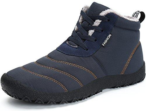 SAGUARO® Herren Damen Winterschuhe Warm Gefüttert Winter Stiefel Kurz Schnür Boots Schneestiefel Outdoor Freizeit Schuhe,Blau 40