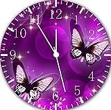 Wanduhr 25,0 cm, Schmetterling-Motiv, Violett, tolles Geschenk, E25