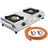 Suraksha Shine Stainless Steel Cooktop Gas Stove with 1.5 Metre LPG Rubber Hose Pipe (Steel Wire Reinforced) ISI Marked