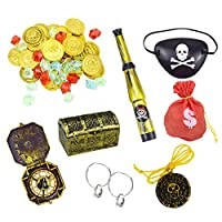 QULiTAN 47 Pack Pirate Costume Accessories Set, Pirates Theme Party Costume Accessory Toys Party Favour Bag Filler For Kids Pirate Games - Compass Coins Telescope Treasure Box Eyepatch
