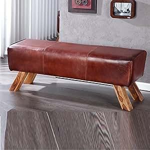 l gant banc rodeo en cuir 120 cm marron banquette cuisine maison. Black Bedroom Furniture Sets. Home Design Ideas
