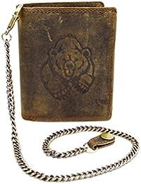 Wild Leder Portemonnaie mit Braun Bären Druck und Hosenkette