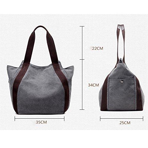 Leinwand Damen Große Kapazität Wearable Atmungsaktiv All-Spiel Handtasche Taschen Blue