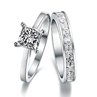 925 Sterling Silver Crystal Accent Love Forever Eternity Engagement Wedding Rings for women men teenage girls, Size Sizer UK M J L K T N P Q R O I S V Z, with a Gift Box, Ideal Gift for Birthdays / Christmas / Wedding (Q)