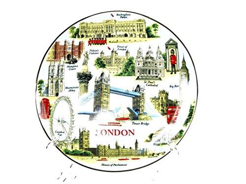 Fine Assiette en porcelaine – Tout Londres avec Tower Bridge (20 cm avec support), Londres souvenir à collectionner