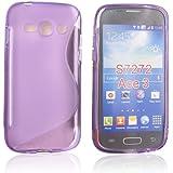 tinxi® Schutzhülle für Samsung Galaxy Ace 3 Hülle S7270 Silikon TPU Rückschale Schutz Hülle Silicon Case S Line in lila