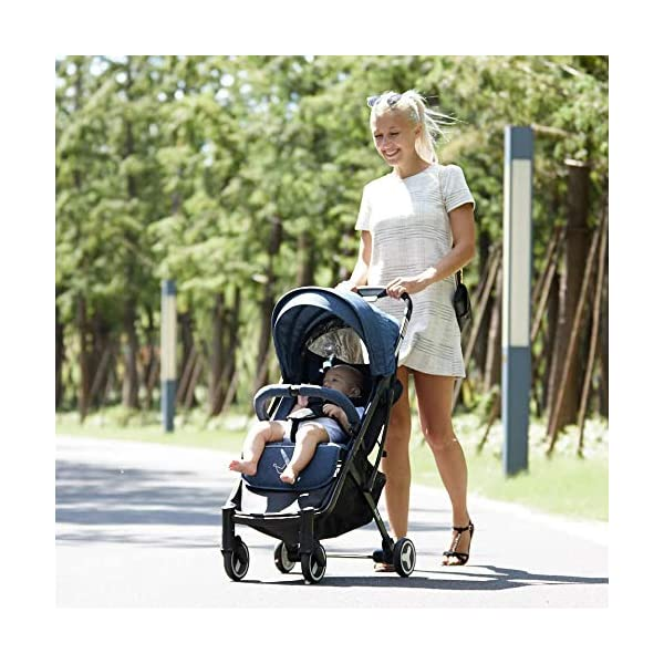 Allis Lightweight Plume Stroller Baby Buggy - Denim Allis Baby Made according to British Standard EN1888 and Fire Safety Regulations 1988. Lockable 360 swivel wheels, removable and suspension, Peek A Boo window/ Recline Seat/ Lie-flat position From 6M (Upto 15Kg Approx). Lightweight 6.7Kg only, Easy to fold with one hand only 8