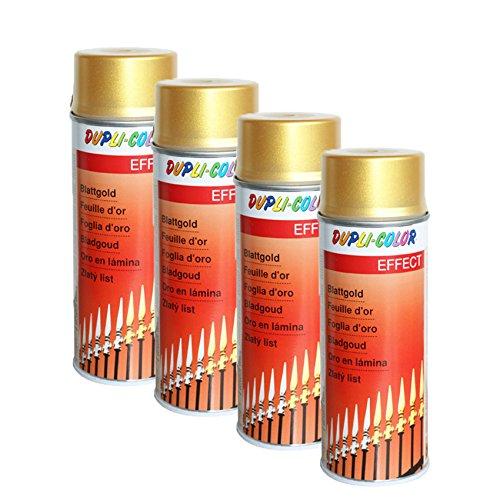 4X DUPLI-Color BLATTGOLD Spray ACRYLLACK EDELMETALLOPTIK Glas Metall Stein 400 M (Spray Blattgold)