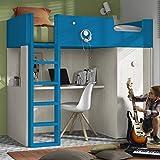 Möbel ROS Hochbett mit Schreibtisch und Schrank – 181,1x203,8x115,6 cm