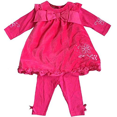 Tom Kids Mädchen Baby Set Leggins Samt-Kleid festlich mit Schleife 2in1-Look pink K2 (86)