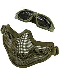 Máscara de Malla de Media Cara con Gafas Protectora Metálica para la Caza, Cosplay, Juegos de CS, Airsoft Máscara de Malla con Gafas al Aire Libre ( Color : Verde )