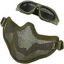 Máscara de Malla de Media Cara con Gafas Protectora Metálica para la Caza, Cosplay,
