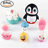 WATINC Jumbo Blue Kitten Cup&penguin Set Squishes Stress Relief Soft Toy Slow Rising Squeeze Toys(Blue Kitten Cup&penguin Set)