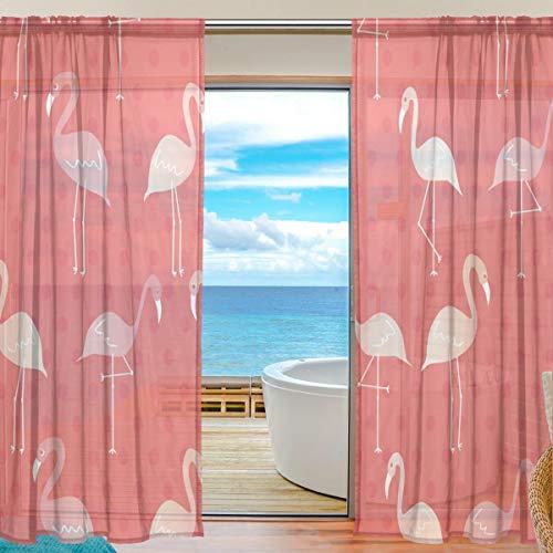 TIZORAX Vorhang mit Flamingo-Muster, durchsichtig, Polyleinen-Voile-Vorhang, Gardinenstange für Wohnzimmer, Schlafzimmer, 139,7 x 19,8 cm, 2 Paneele, Polyester, Multi, 55